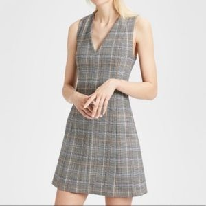 Theory Wool Easy V shift dress in autumn plaid